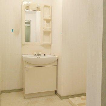 広々脱衣所に洗面台と洗濯機置き場。