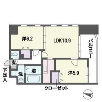 LDKをぐるっと洋室が囲む2LDK。
