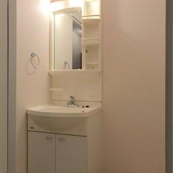歯ブラシなどを置くスペースも確保されています。