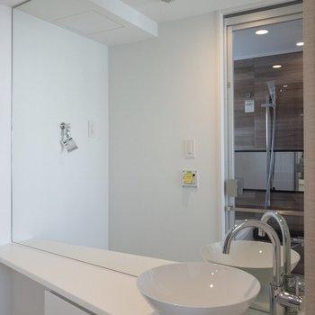 大きな鏡とミニマムな洗面台が特徴的です。