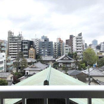 お寺の屋根が見えます。