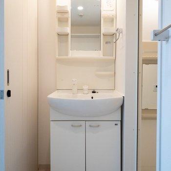コンパクトな洗面台。 (※写真は1階の反転間取り別部屋のものです)