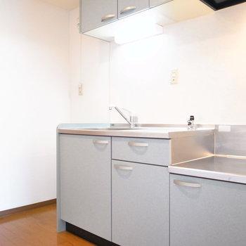 キッチンはゆったりめです!右に冷蔵庫を置けます。