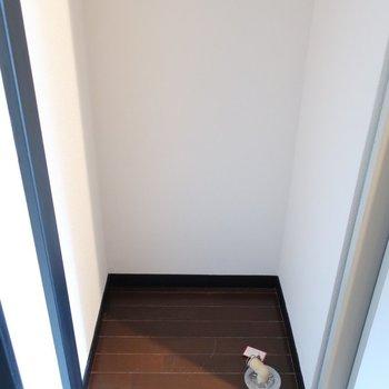 洗濯機置場は玄関横に。(※写真は6階の同間取り別部屋、モデルルームのものです)