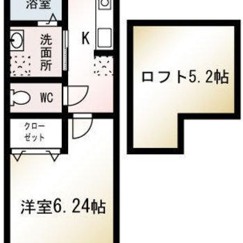 ロフト付き、1Kのお部屋です。