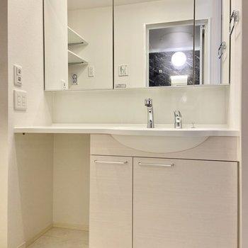 独立洗面台は鏡が大きくて清潔感たっぷり!鏡の裏は収納になっていますよ。