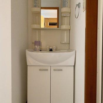 独立洗面台がお隣です。(※写真は4階の同間取り別部屋のものです)