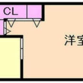 居室はなんと約12帖。シンプルな間取りがいいですね。
