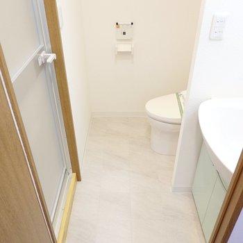 キッチンの背面側には脱衣所。洗面台とトイレが同室です。