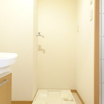 洗濯機は脱衣所に。(※写真は5階の反転間取り別部屋、清掃前のものです)