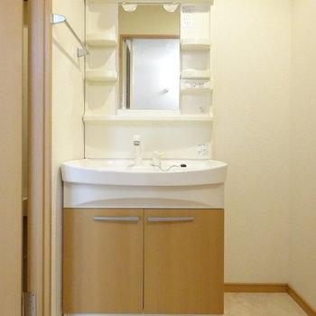 洗面台は大きくて使いやすそう◎(※写真は5階の反転間取り別部屋、清掃前のものです)