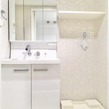洗面台はベーシックなタイプ。鏡の裏が収納になっています。