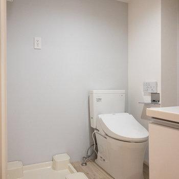 洗面脱衣所にトイレと洗濯機置き場があります。