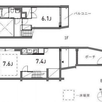 玄関のあるお部屋はやや地下に。点線部分は床暖房になっていますよ。