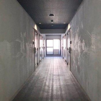 共用廊下は室内で綺麗でした。