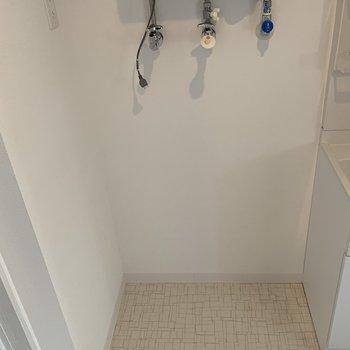 洗濯機置場も洗面台横に確保済み。