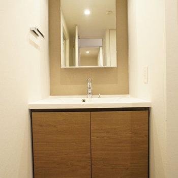 脱衣所です。洗面台は広くて使いやすそう。