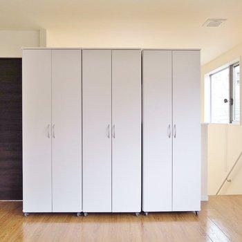 洋室①】この可動式の収納は空間を仕切る使い方もできそう。