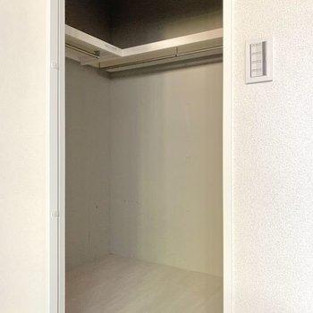 【洋室6.4帖】収納力の高そうなウォークインクローゼット。スーツケースなどもしまえますね。