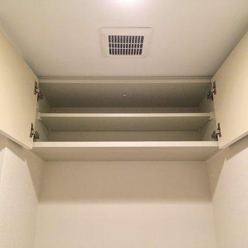 ここにストック用のペーパーを置いて◎(※写真は20階の同間取り、モデルルームのものです)