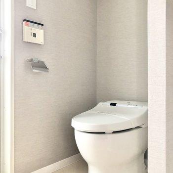 トイレの上にも収納がありますよ。※写真は2階の同間取り別部屋のものです
