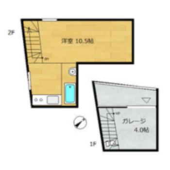 1階がガレージになっているメゾネットタイプのお部屋。