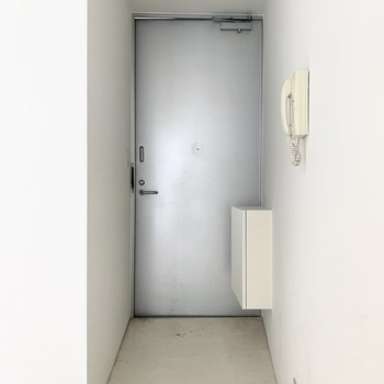 大きな玄関ドアです。シルバーでとってもクール。