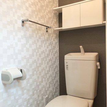 廊下、洋室側の扉にトイレです。収納も便利に使えそう。