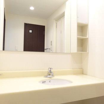洗面ボウルはちょこんと小さめ。その分スペースが広くて便利!(※写真は8階の反転間取り別部屋のものです)