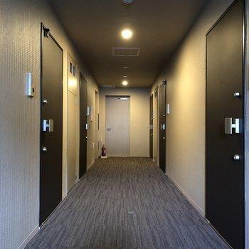 ホテルのような廊下です。