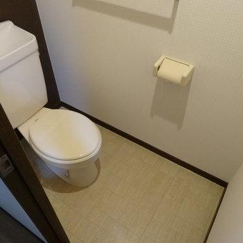壁と床がアクセントになって素敵なトイレ。(※写真は6階の同間取り別部屋のものです)