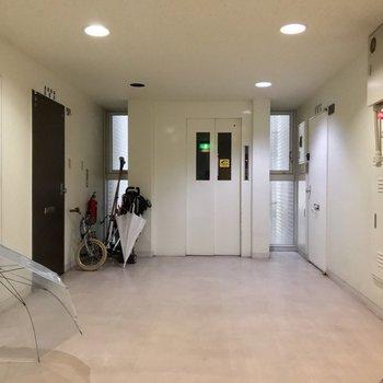 共用廊下は室内で綺麗に管理されている印象。ファミリー世帯が多いようです。