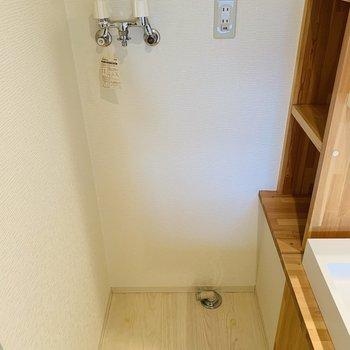 洗面台横には洗濯機置場、横は収納棚になっています