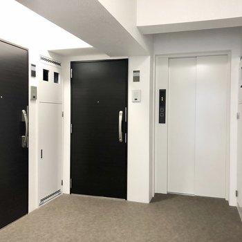 共用部の廊下はシンプルな造り。