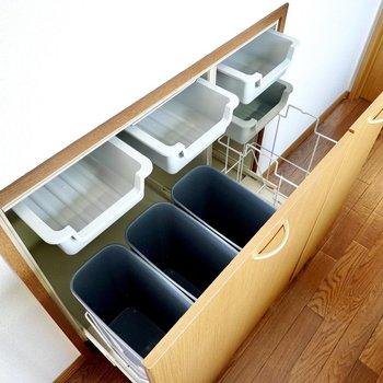 背面側には食器やゴミ箱が置ける引き出し収納が!
