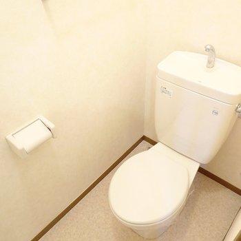 おトイレも同じくシンプルな物ですが清潔感があります。上部には棚も付いています。