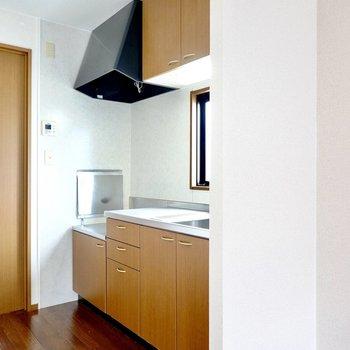 キッチンが壁でゆるりと仕切られています。冷蔵庫置場は壁の右側に。