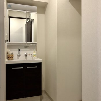 続いて設備面。ゆとりのある脱衣所です。※写真は6階の同間取り別部屋のものです