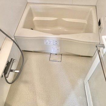 洗い場スペースも確保され、ゆっくり入れそう。※写真はクリーニング前のものです