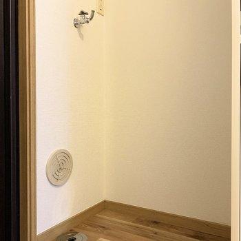 洗濯機は玄関左手側に置けますよ。
