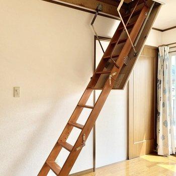 【約6帖洋室】女性でも楽々取り出せるハシゴを登ると屋根裏に。