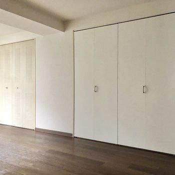 【洋室】壁には大きな収納が2つもあります。