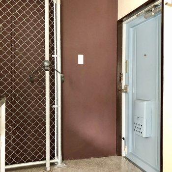 玄関は広く、フラット。ブルーの扉が目を惹きます。