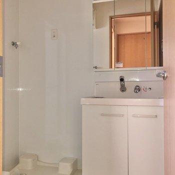 サニタリールームへ。鏡裏収納で洗面台回りもスッキリ。※写真はフラッシュを使用しています。