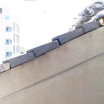 洗濯パン近くの窓の外は、すぐとなりのおうちの屋根です。