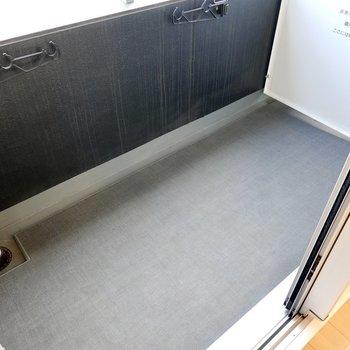 ベランダも広々。周囲から目立たず洗濯物が飛ばされにくい位置に竿受けがあるのが嬉しい。