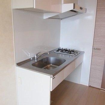 キッチンは2口で大きめ。(※写真は10階の反転間取り別部屋のものです)