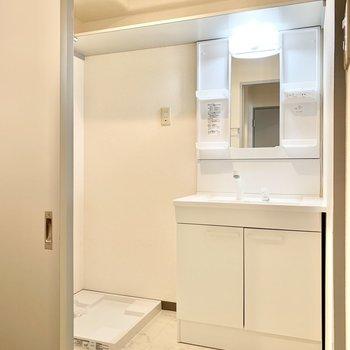 独立洗面台の鏡のサイドには歯ブラシなどが置けますよ。
