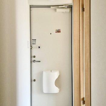 玄関。ポストはドアについています。