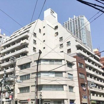 交差点沿いに建つ、こちらのマンションです。